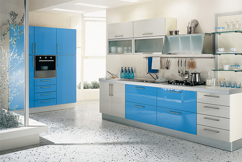 Kitchen Set Interior Design Warna Biru Arsitek Sukabumi