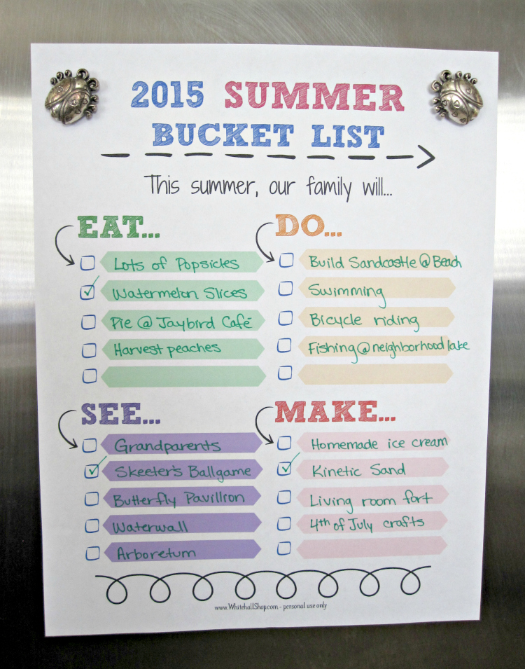 2015 Summer Bucket List Printable hanging on Fridge with Ladybug magnets