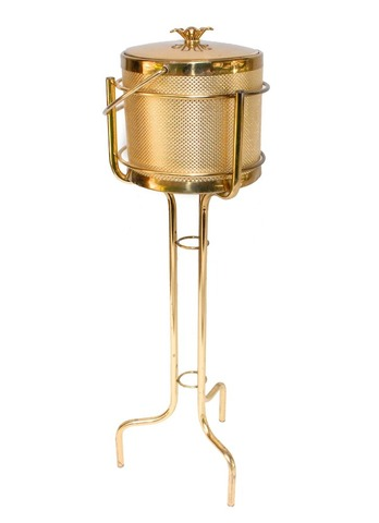 Vintage gold ice bucket with stand