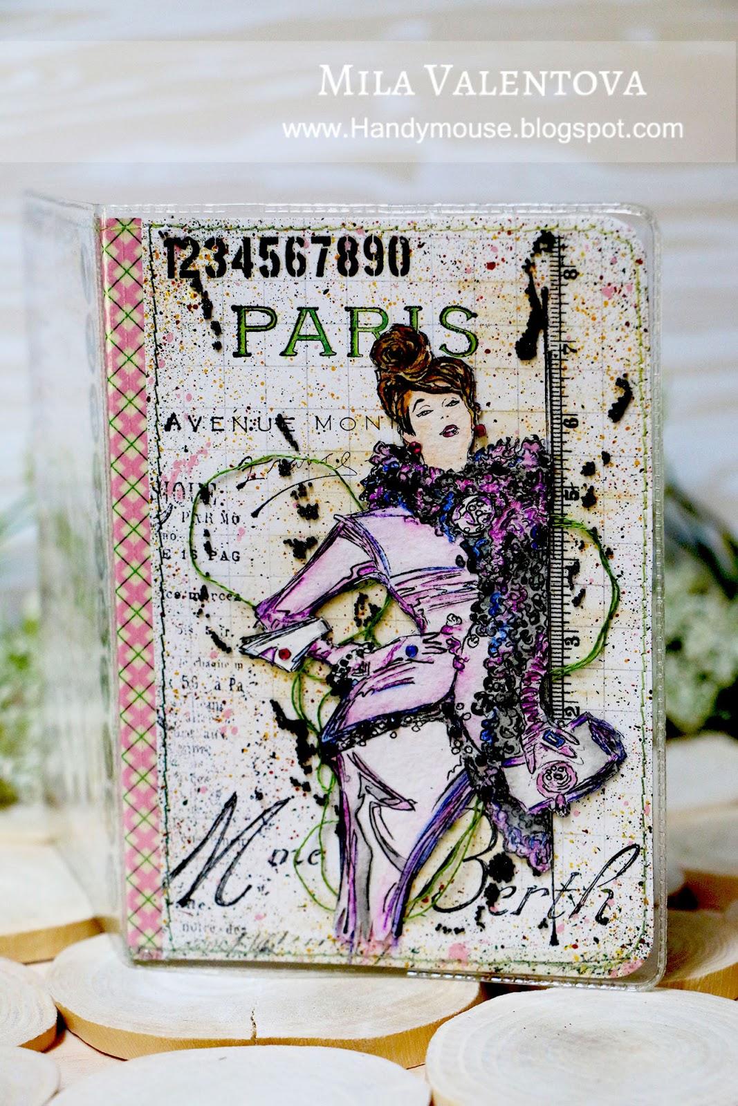 """Обложка для паспорта""""Париж, Париж - сон на яву"""". Мила Валентова."""
