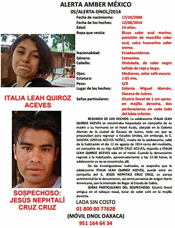 Alerta AMBER para localizar a ITALIA LEAH QUIROZ ACEVES, de 14 años de edad.