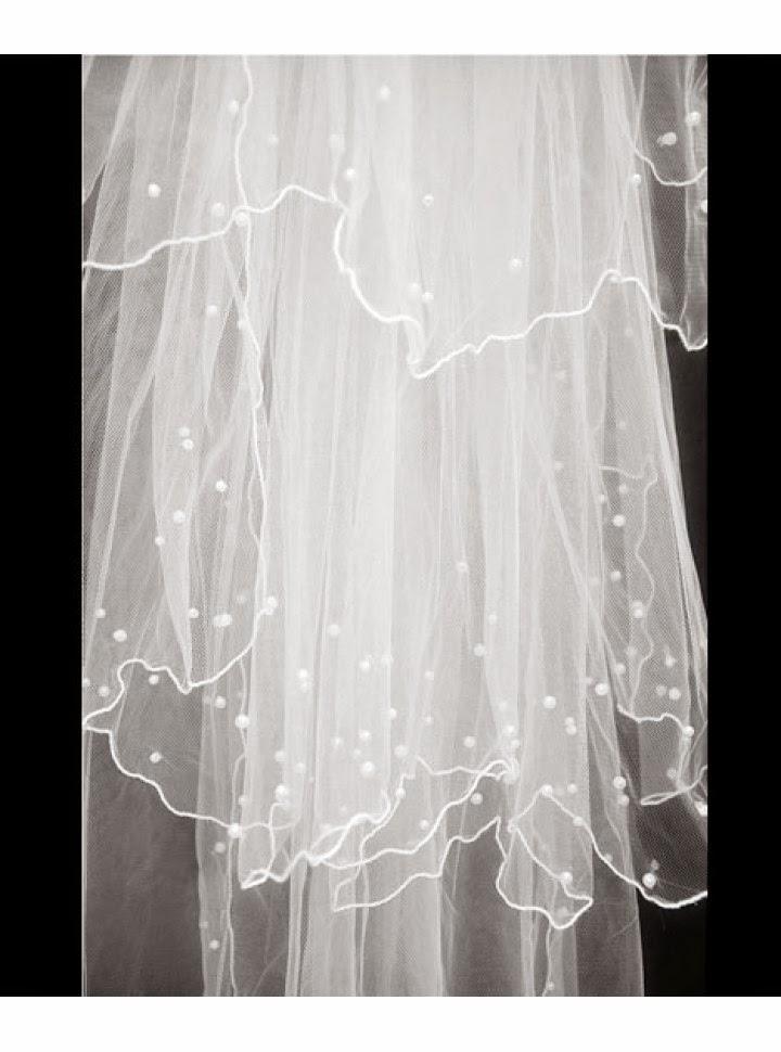 Velo para Vestido de Novia Tipo Vals con Capas Multiples, Bordes Reforzados y Esferas