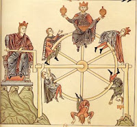 Mediaeval depiction of Fortune's wheel, an important symbol in the Middle Ages
