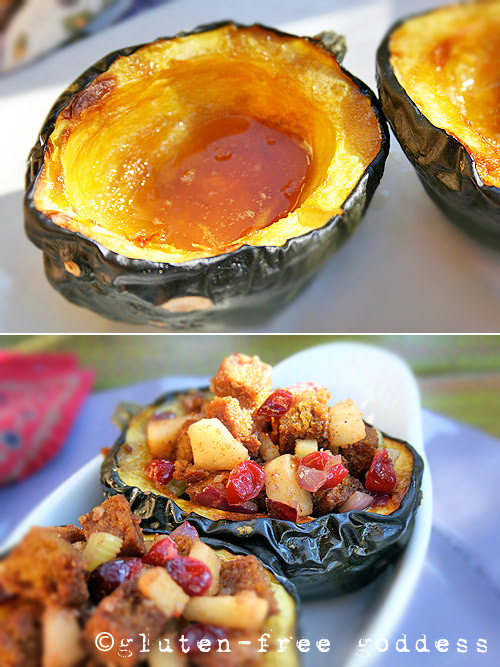 Maple Roasted Acorn Squash Two Ways- Stuffed + Unstuffed (Cornbread Stuffing)