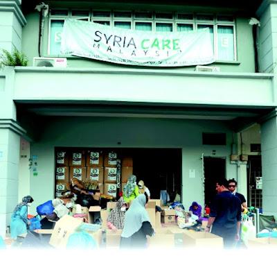 Pertubuhan Syria Care Malaysia yang berpusat di Jalan Bola Jaring 1, Shah Alam.