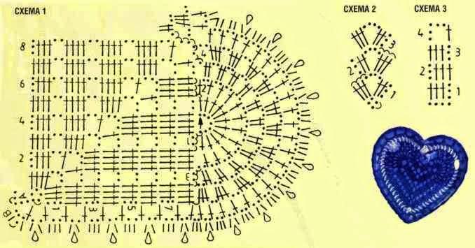 Схема вязания сердца крючком просто 42