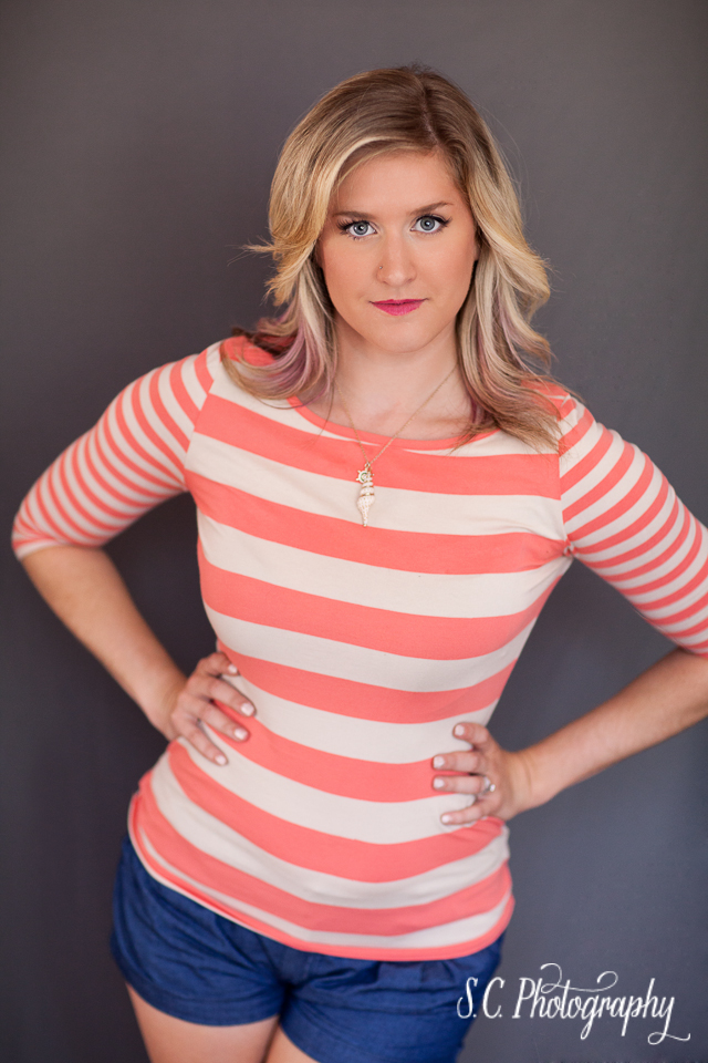 Glamour photography striped shirt, nautical necklace, S.C. Photography