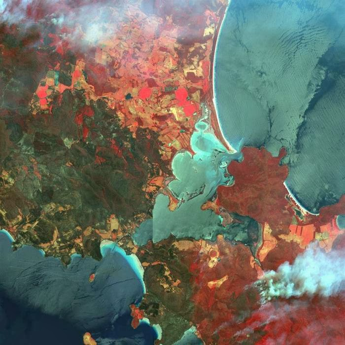 False color image with natural fires in the state of Tasmania in Australia. Healthy vegetation is colored red (January 6, 2013)