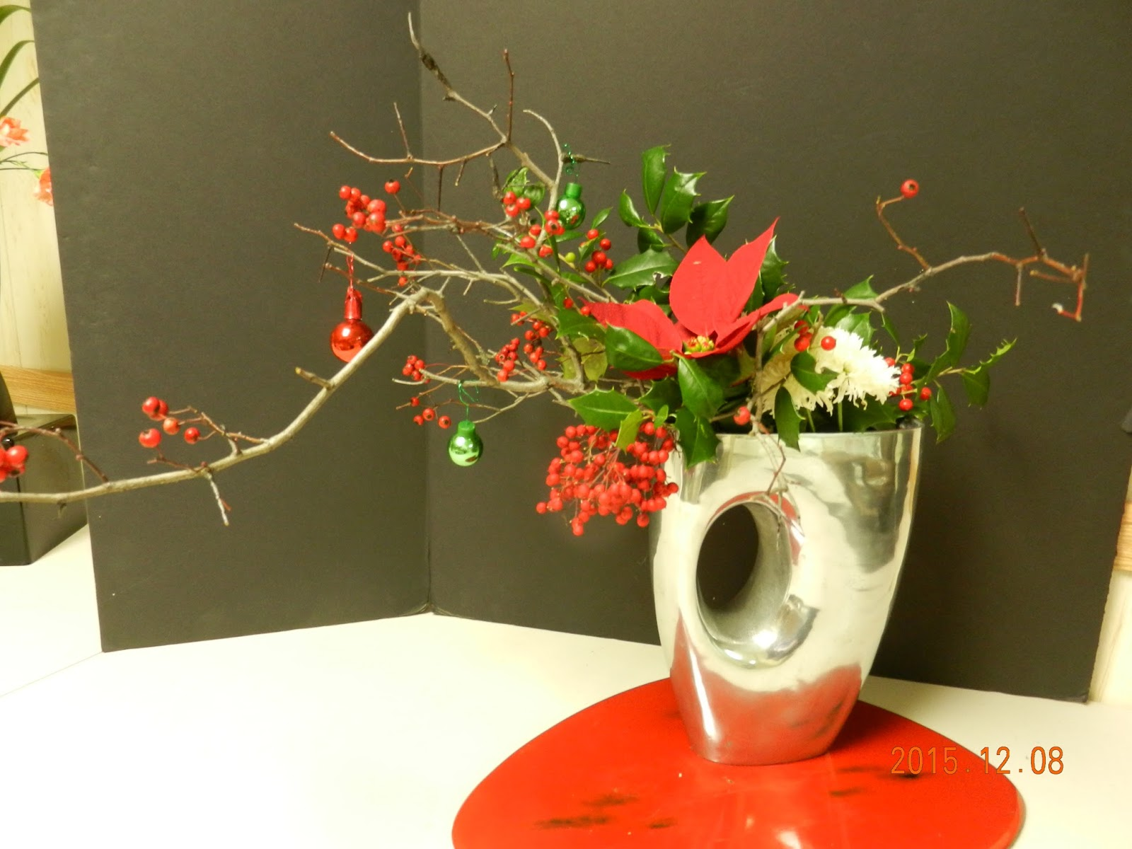 Orchids And Ikebana Holiday Arrangement Merry Christmas 1