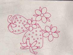 molde de las fresas bordadas en cinta