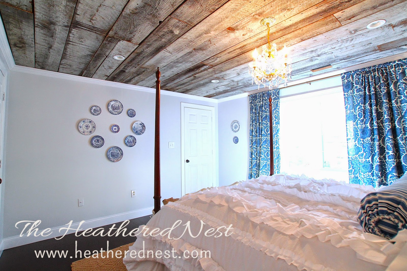heathered nest guest room, barnboard ceiling, be our guest, ruffle duvet, ruffle comforter
