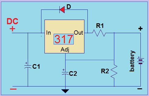 LM317 Battery Charger Circuit on Short Circuit Diagram
