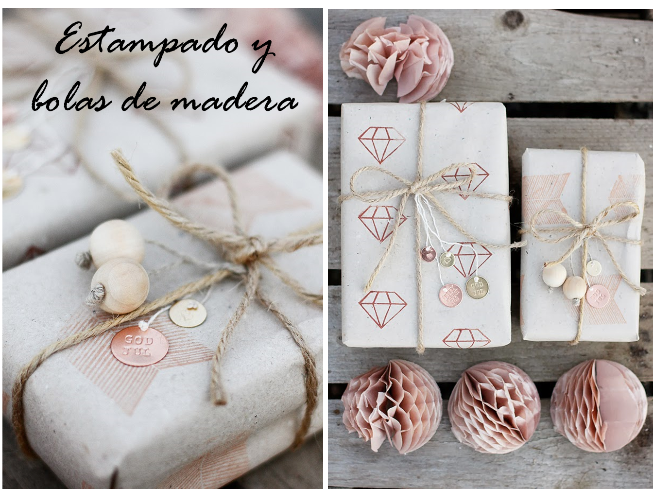 Decoraci n f cil ideas con papel kraft para envolver los - Ideas para envolver regalos navidenos ...