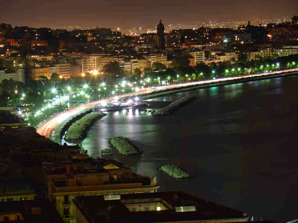 The city of Naples at night