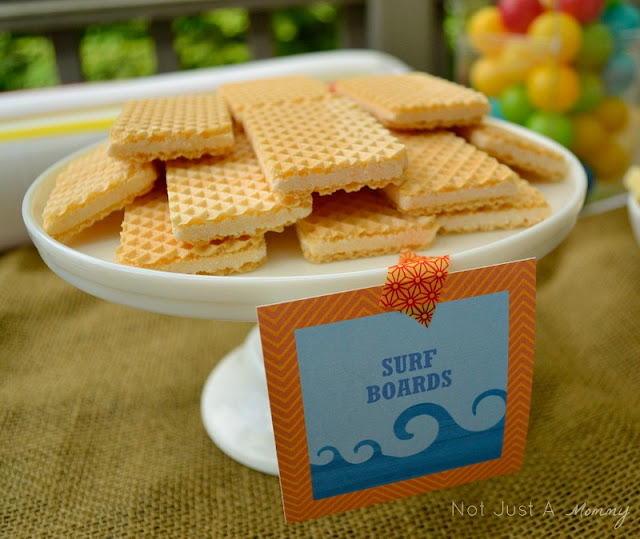A Day At The Beach playdate party table vanilla wafer surf boards