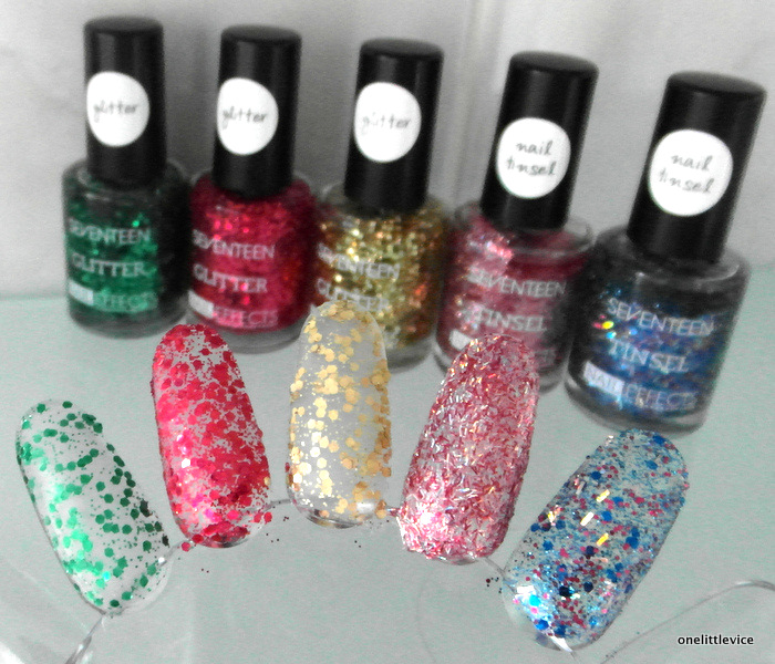 OneLittleVice Beauty Blog: Seventeen Glitter and Tinsel Nail Effects polishes review
