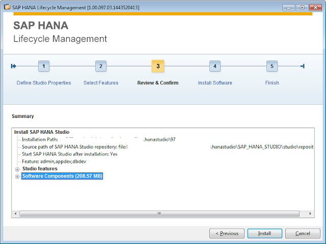 Select HANA Studio features