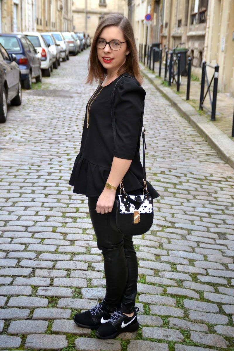 blouse peplum pretty wire et slim noir cuir zara