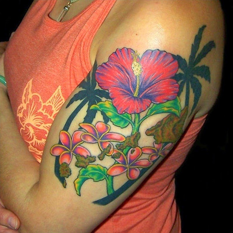 Tropical Flower Rib Tattoos: Cool And Awesome Hawaiian Flower Tattoos Ideas