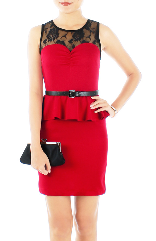 Rose Red Lace Sweetheart Peplum Dress