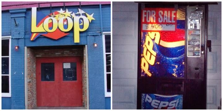 Loop Windsor, bars Windsor Ontario, Loop front doors, Loop sign, Pepsi vending machine, A Coin for the Well