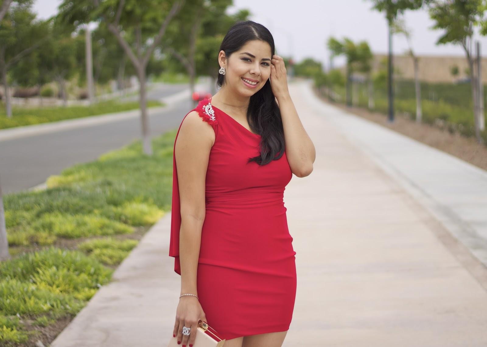 Faviana red one shoulder dress