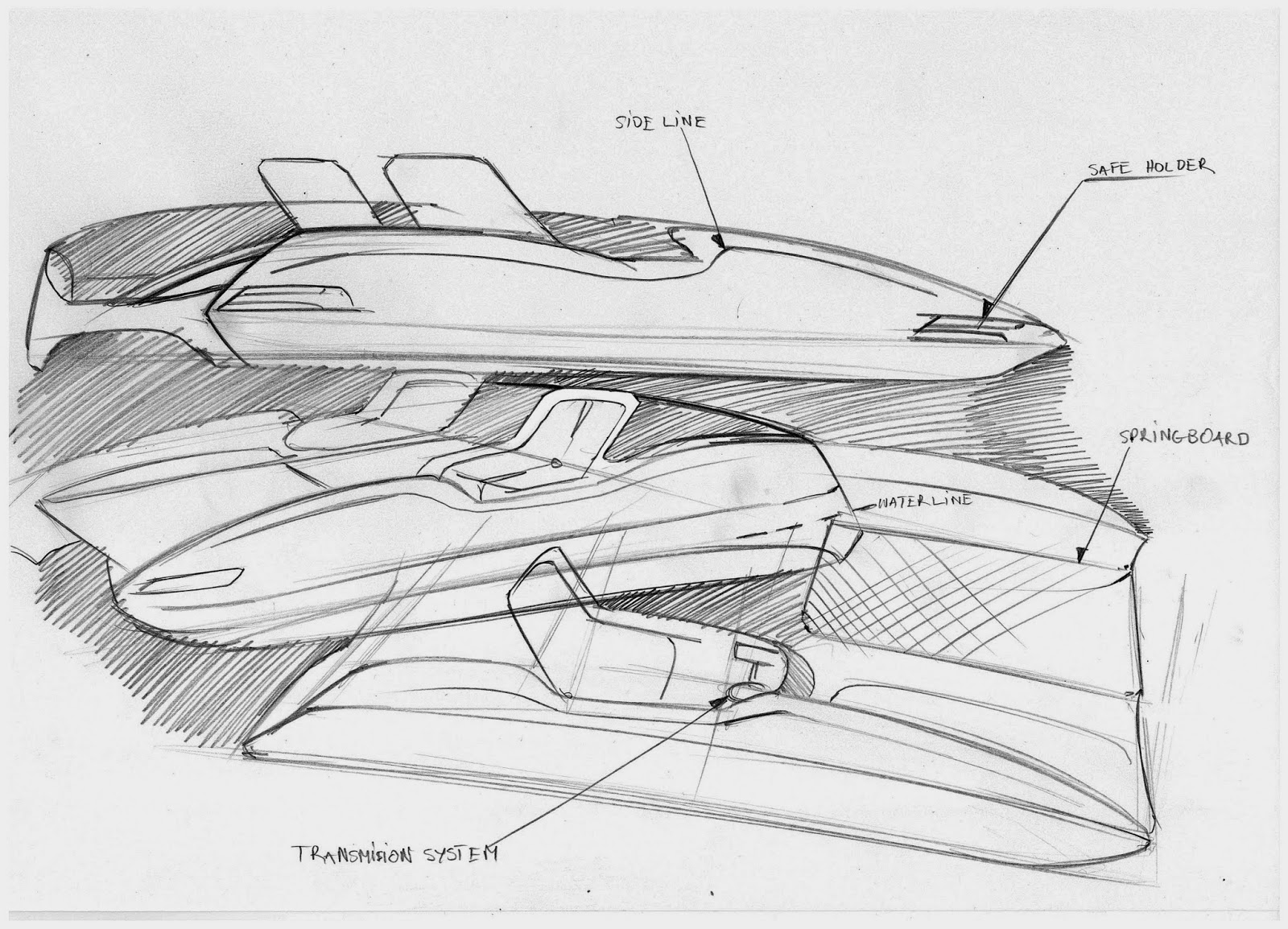 car design sketches and drawings paddleboat concept