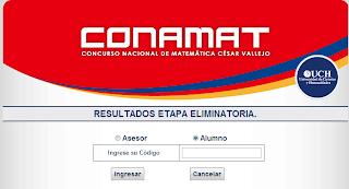 Resultados Examen CONAMAT 27 y 28 de septiembre 2014 - Huancayo, Arequipa, Chiclayo e Iquitos