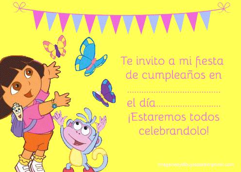 Dora y botas en invitacion de cumpleaños