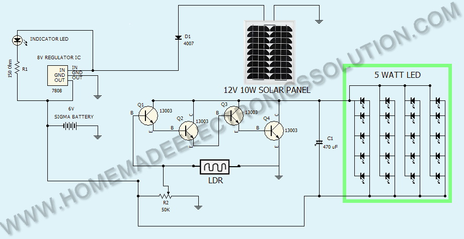 solar to 6v batt led emergency light circuit solar wiring diagram free