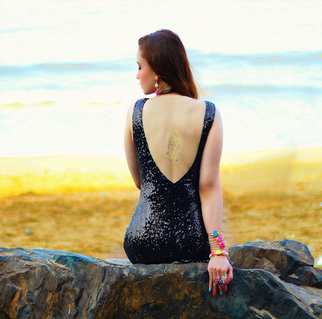 Black backless Sequin Gown with thigh-high slit, Flash Tattoo, Semi-Precious Jewelry, Silvette