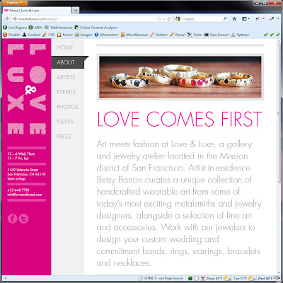 Screen shot of http://loveandluxesf.com/about/.