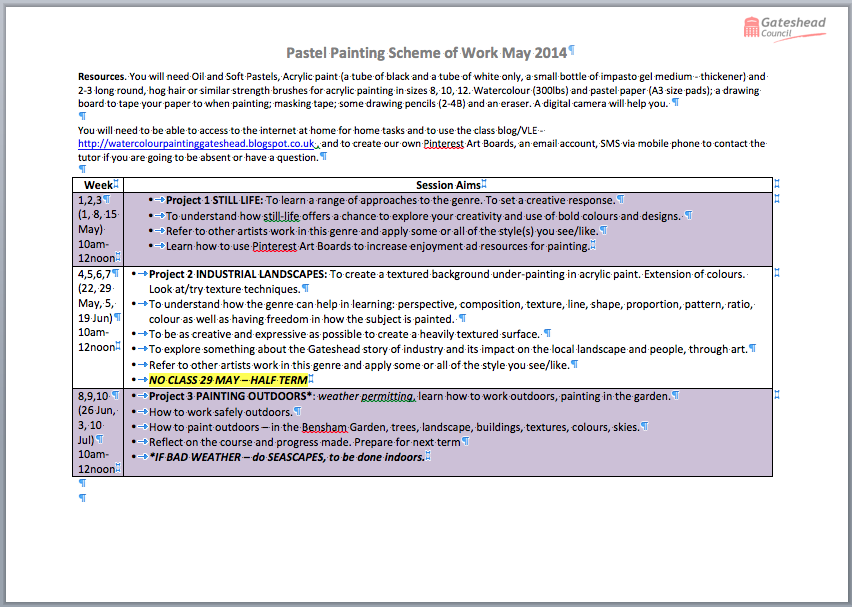 Summary Pastels Programme May 2014