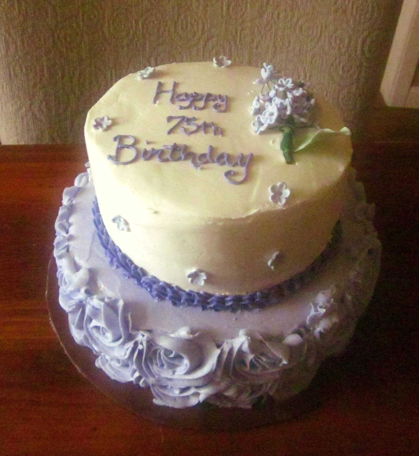 Second Generation Cake Design Roses Lilacs 75th Birthday Cake