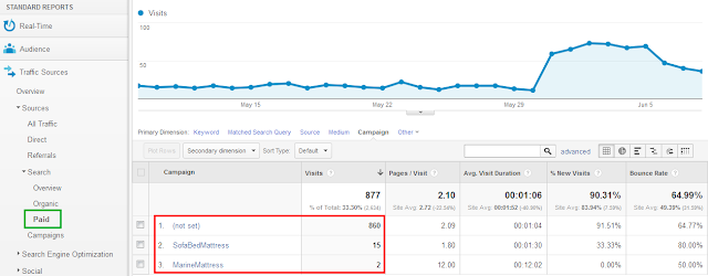 Google Analytics | Paid campaigns screenshot