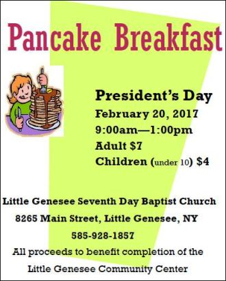 2-20 Pancake Breakfast, Little Genesee