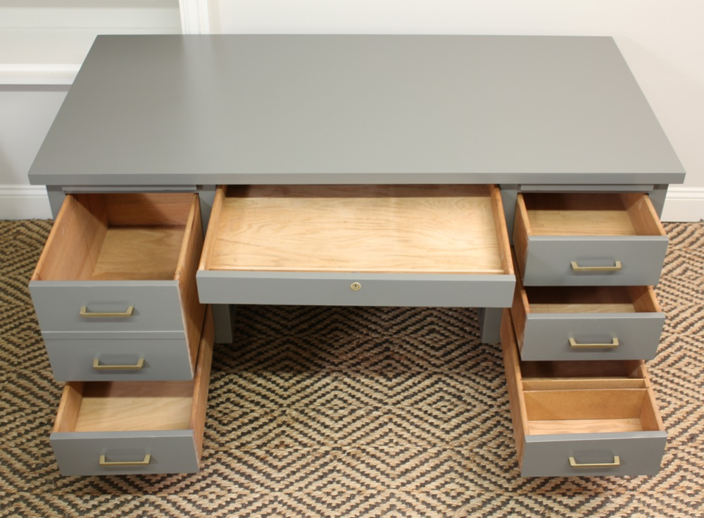 The Top Middle Drawer W/ Keyhole Is Flanked By Two Pull Out Writing Boards.  Some Of The Drawer Interiors Have Built In Wooden Dividers. The Desk  Measures: ...