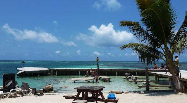 Drinking beers at the Lazy Lizard bar in Caye Caulker, Belize