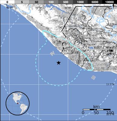 Epicentro sismo Guatemala, 03 de Diciembre 2012