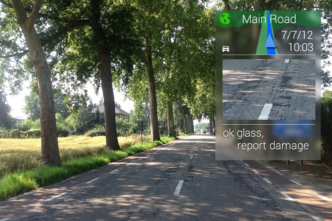 Schaderapport van openbare plaatsen met Google Glass