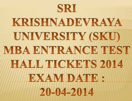 Download SKU MBA Entrance Test  Hall Tickets 2014 @ www.manabadi.com