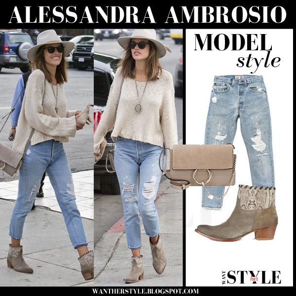 Alessandra Ambrosio in beige sweater, distressed jeans and suede boots what she wore streetstyle