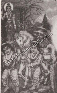 Sita with Luva and Kusha, sons of Rama who captured the royal horse of Ayodhya