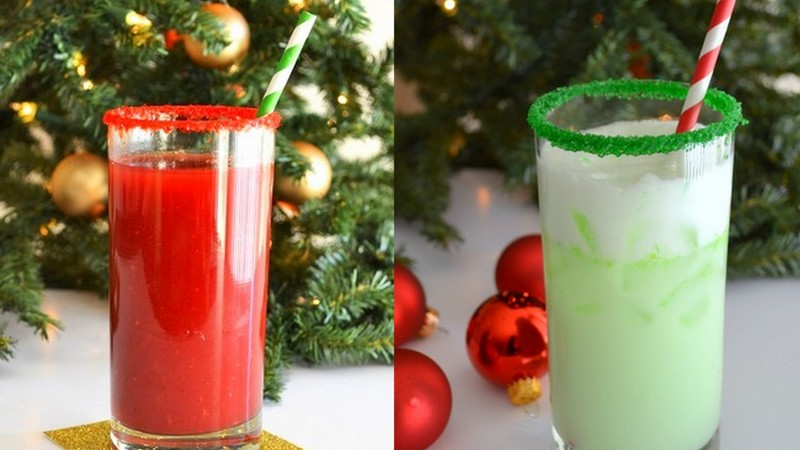 holiday cocktails Grinch Spritzer and Rudolph Punch