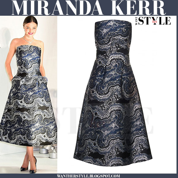Miranda Kerr in strapless marble effect midi osman gown what she wore