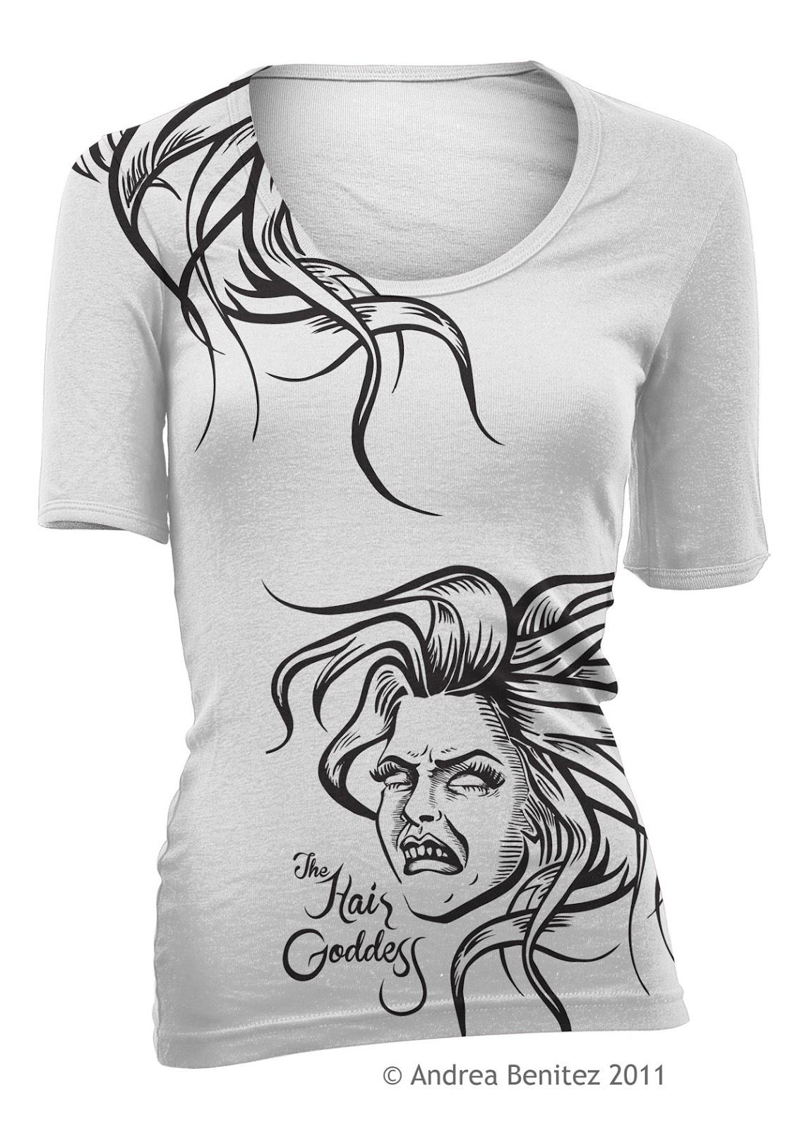 Hair goddess shirt design andrea benitez art for Hair salon t shirt designs