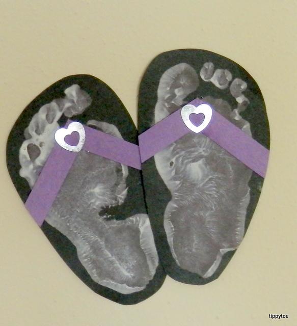 Tippytoe crafts footprint flip flops for Flip flops for crafts