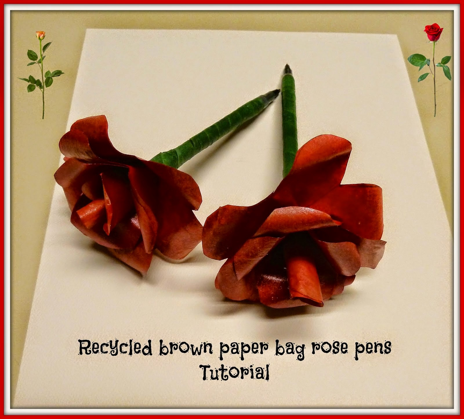 recycled brown paper rose pens