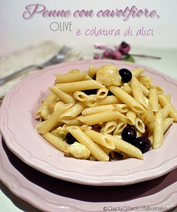 penne con cavolfiore, olive e colatura di alici