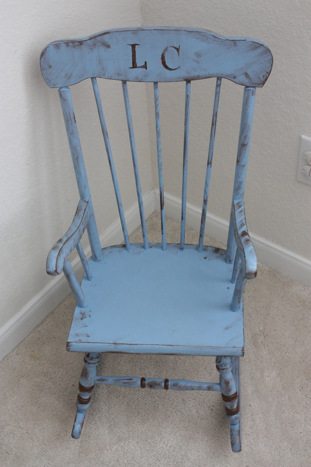 Brown turquoise diy baby rocking chair part ii